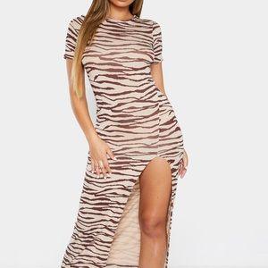 Tan tiger print Midaxi dress